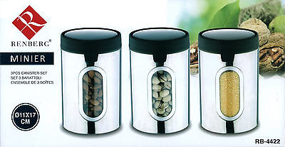 Renberg 3 Pc Stainless Steel Canister Set Kitchen Storage Jar Containers RB-4422