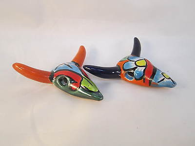 Talavera Ceramic Mini-Cow Skulls, Set of Two (#7111) Hand Painted Mexican Art
