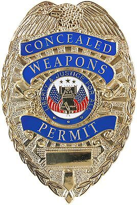 Gold Concealed Weapons Permit Liberty & Justice For All Shield Badge