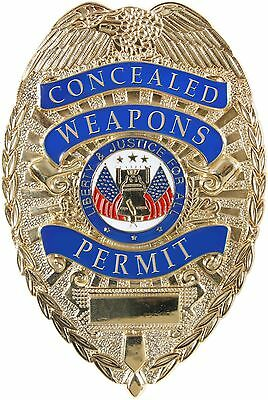 Gold Deluxe Concealed Weapons Permit Shield Badge