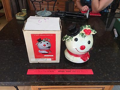 Vtg Frosty The Snowman Musical Snowman Face Rotates Plays Hand Crafted Hong Kong