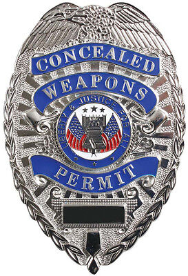 Silver Concealed Weapons Permit Liberty & Justice For All Shield Badge