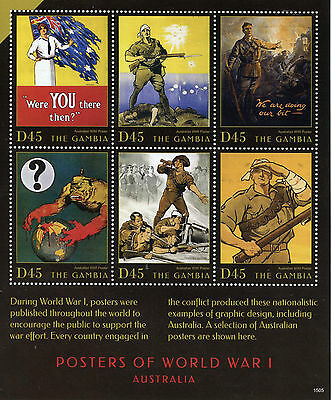Gambia 2015 MNH WWI Posters First World War I Australia 6v M/S Military Stamps