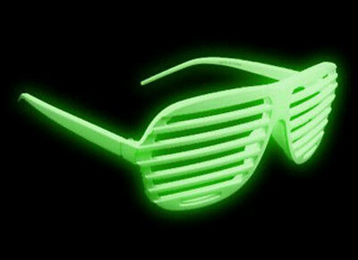 2 Count Glow In The Dark Aviator Blinds Shutter Shades Glasses