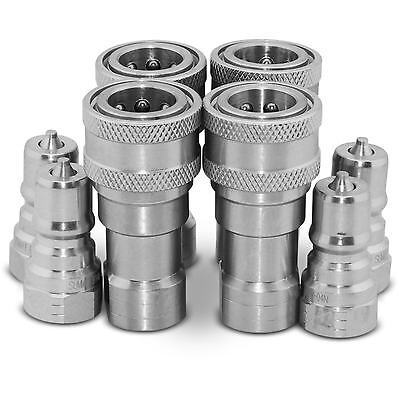 """4 Sets of 1/4"""" NPT ISO 7241-B Quick Disconnect Hydraulic Couplings / Couplers"""