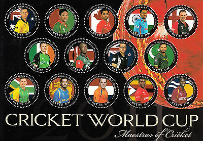 St Kitts 2011 MNH Cricket World Cup Maestros 14v MS Captains ERROR Ricky Ponting