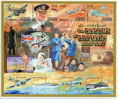 Antigua & Barbuda 2000 MNH WWII Battle of Britain 60th 8v M/S I Churchill Stamps