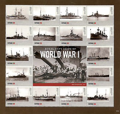 Guyana 2015 MNH Royal Navy Ships First World War I WWI 16v M/S HMS Juno Stamps