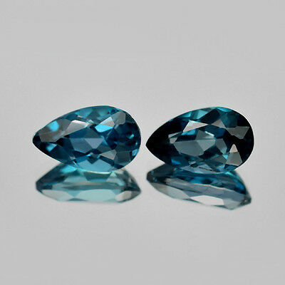 4.34 ct. Perfektes Paar  10 x 6 mm London Blue Topas Tropfen