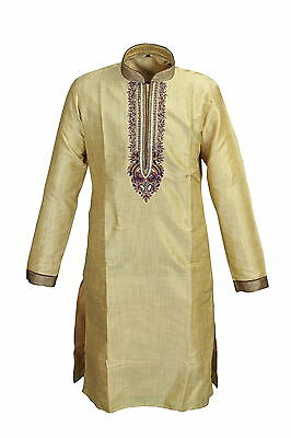 Mens Wedding Style Kurta Set, Long Kurta, Indian Traditional Kurta, Cream Color