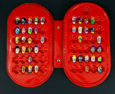 Mighty Beanz Set of 40 in Red Collector Case Missing Strap