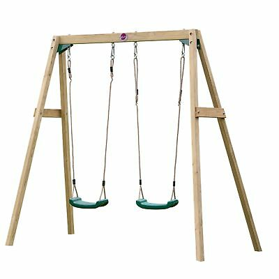 NEW Plum Wooden Double Swing Set Plastic Seats Sustainable Timber Outdoor Play