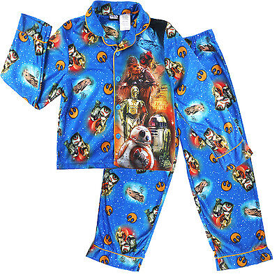 STAR WARS boys flannel pjs kids Flannelette Pyjama sleepwear clothing size 6-10