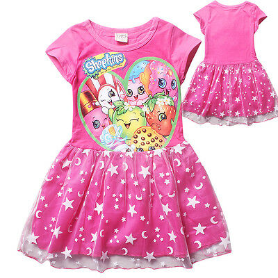 SHOPKINS kids girls clothing cotton summer dress pink short sleeve size 6-12