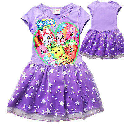 SHOPKINS kids girls clothing cotton summer dress purple short sleeve size 6-12