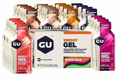 GU ENERGY GELS Mixed Box of 24 Gels 6 Flavours