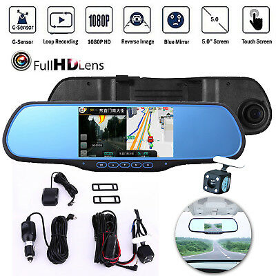 "WIFI 5"" Android Dual Lens HD 1080P Car DVR Rearview Mirror Dash Cam Camera GPS"