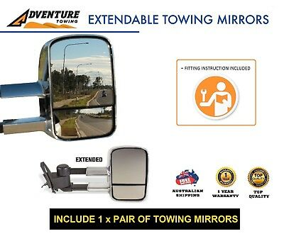 Adventure Towing Extendable Mirrors Ford Ranger Px 2012- On Chrome W/ Indicators