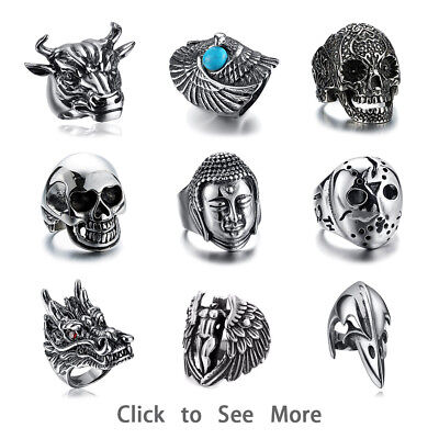 316L Stainless steel steam men punk ring gothic rings skull cool Men's Jewelry A