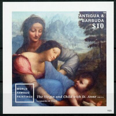 Antigua & Barbuda 2015 MNH World Famous Paintings 1v Imp S/S II Da Vinci Stamps