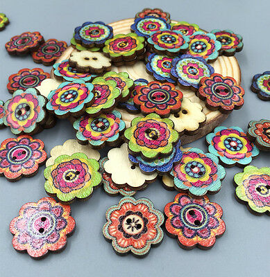 MEW Wooden Buttons 2-Holes Retro Flower DIY Sewing Scrapbooking Craft 19mm