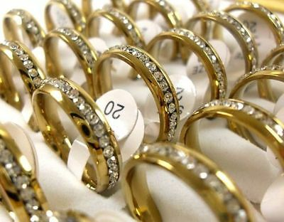 12pcs Full CZ inside comfortable Gold stainless steel rings  job lots wholesale