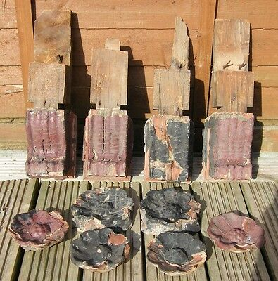 SUPER RARE VERY EARLY 1600s RECLAIMED CARVED  BRACKETS CORBELS TUDOR ROSE