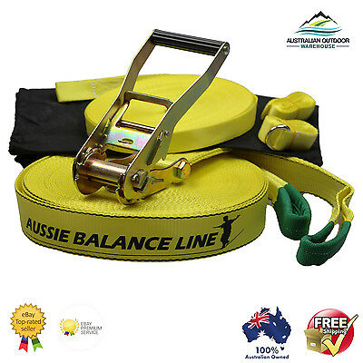 Slackline  15m Yellow 15m Aussie Slackline includes 2nd learning line to hold