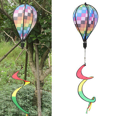 Colorful Grid Windsock Hot Air Balloon Wind Spinner Garden Yard Outdoor Decor