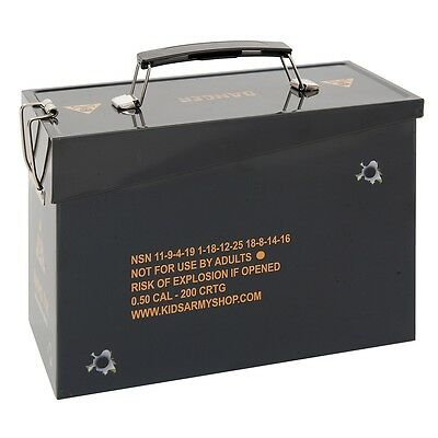 Kids Army Replica Ammo Tin - Toy Storage Tin - .50 Cal Ammo Box