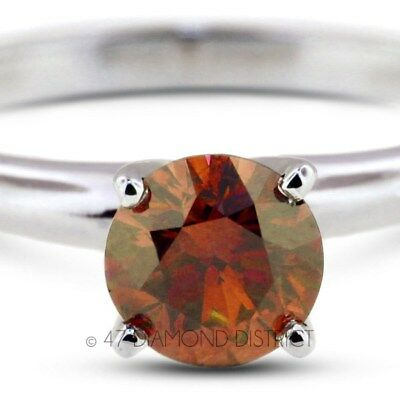 1.04ct. Red-SI3 VG Round Certified Diamond 14K Gold Classic Solitaire Ring 2.6gm