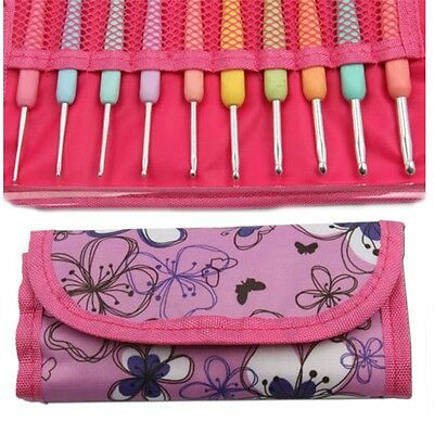 New Colorful TPR Soft Handle Aluminum Crochet Hooks Knitting Needles Set OG