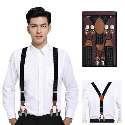 35mm Extra Wide Mens Suspenders Adjustable Elastic Clip-On Braces Trousers Belt