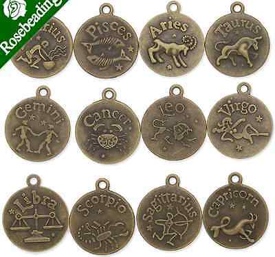 12/120pcs Antique Bronze Zodiac Charms twelve Constellations Metal sign pendant