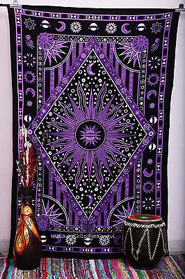 Purple Sun Indian Mandala Wall Hanging Hippie Bedspread Home Decor Twin Tapestry