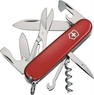 Authentic Victorinox Red Swiss Army Climber 56381 Pocket Knife 14-In-1 Stainless