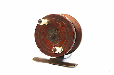 "Rare 2.1/2""Nottingham spine back fishing reel with iron spine white handles 1860"