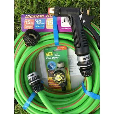 30M PREMFLEX Rubber Garden Water Hose with Nylex Fittings/Gun Free Neta Litre