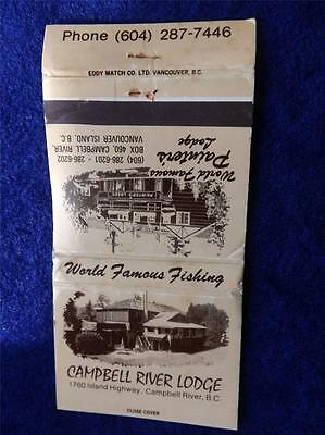 Campbell River Lodge Bc World Famous Fishing Painters Point Vancouver Matchbook