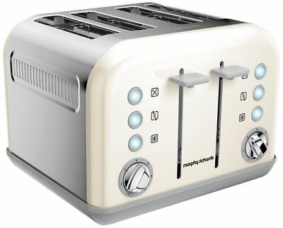 Morphy Richards Accents 4 Slice Wide Slot Toaster In White Variable Width 242032