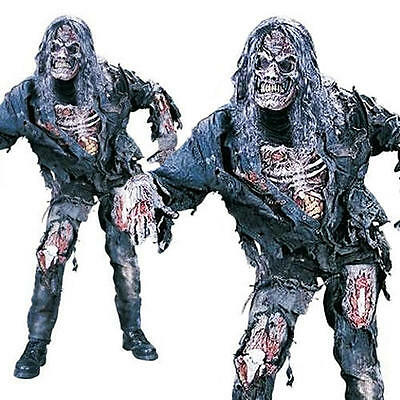 Scary Complete Zombie + Mask Halloween Fancy Dress Undead Horror Mens Costume