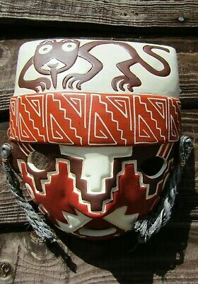 Fair Trade Hand Carved Made Ceramic Chancay Style Tribal Wall Plaque Peru Mask