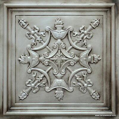 Decorative Faux Tin Ceiling Tile TD07 Ant. White Glue Up/Drop In 25pcs~100 sq.ft