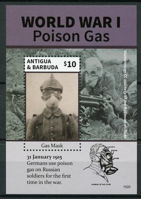 Antigua & Barbuda 2015 MNH WWI WW1 World War I Poison Gas 1v S/S Stamps
