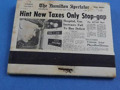 Hamilton Spectator Newspaper  1964 Gas Tax Vintage Matchbook Collector