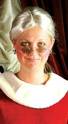 Mrs. Claus Costume Accessories - Gray Wig, Glasses & Red Bonnet Free Ship NIB