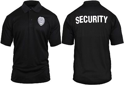 Black Moisture Wicking Security Double Sided Polo Golf Shirt With Badge