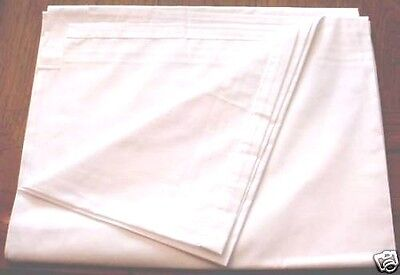 """LOT of 2 WHITE FLAT SHEETS TWIN SIZE LONG 104"""" X 66""""~FREE INSURED PRIORITY SHIP"""