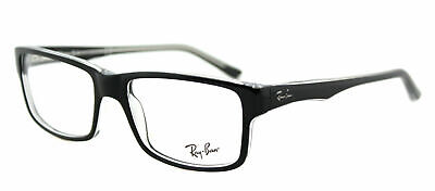 Ray-Ban RX 5245 2034 Black on Crystal Plastic Rectangle Eyeglasses 54mm