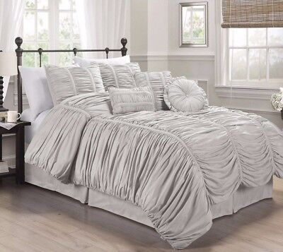 Chezmoi Collection 7pcs Shabby Chic Ruched Ruffle Comforter Set King, Gray